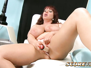 Now that he's here, she can get down his hard cock.
