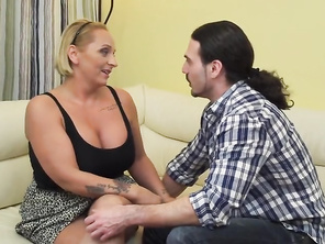 Huge sexy mother suck and fuck lucky son
