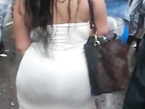 Spying Big Butt Tight Sundress - Huge Round Booty (BUSTED)