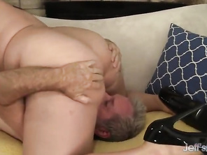 Plump Sweet Angel DeLuca Rides Old Cock