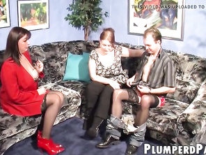 Fatty redhead rides dick while WIFE breastfeeds deviant