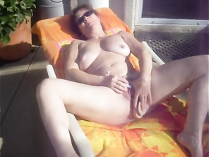 My HOUSEWIFE Housewife Fucks Herself Where Neighbors can Watch