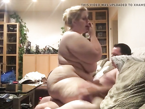 CHUBBY Rides guys dick on the sofa
