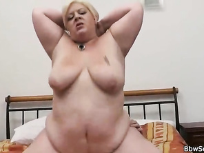 Huge melons blonde gives head and rides dick