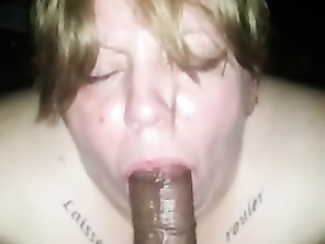 White Thot gives head and eats a plump cumshot