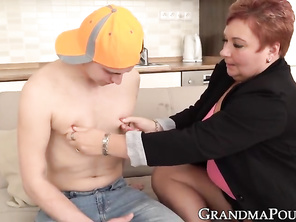 Ginger PLUMP grandma working on much younger cock