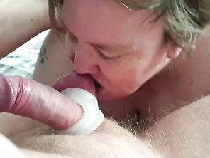 My housewife Liz sucking my balls and dick