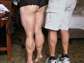 Tempest Humliating the Photographer by Comparing her Calves with his