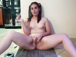 Chubby Young Smoking Naked with Legs Spread