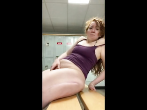 Redhead HOUSEWIFE Cums in Gym Change Room.