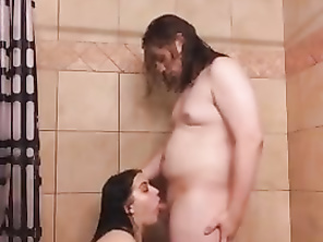Couple Sucking and Fucking in the Shower
