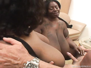 Lovers of voluptuous black women with massive tits will definitely enjoy this hardcore oral sex threesome.