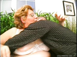 Here's a mature granny wearing glasses who isn't ready to stop fucking until she's all dried up and it looks like that's not going to be for quite sometime by the way she doesn't mind giving you a close up of her riding a stiff cock as she's giving you an