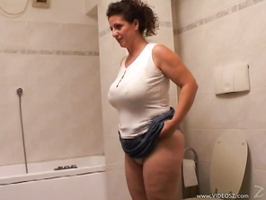 Little did this repairman know what he was getting into when he walked into this horny MILF's house until he sees her sitting on her couch giving him an upskirt that causes his dick to get hard enough to drop his toolbox and drawers so he can fuck her hai