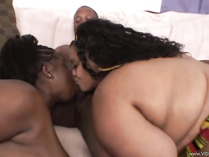 They are lifting up their thunder thighs and pushing fat folds out of the way to get this ebony threesome going.
