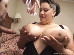 Not only does the brunette, BBW Monet Staxxx have giant jugs but, the areolas are also quite large as well.