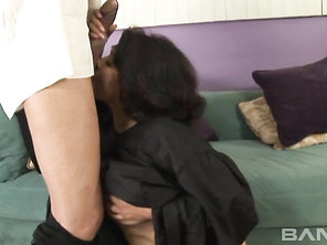 He drops his trousers and she removes her bra, showing him that she has a big pair of jugs and a naval piercing, before riding his cock and giving him a blowjob for a facial cumshot.