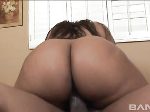 Next, she bends over while kneeling on the edge of the bed, so he can poke his dong into her hairy muff from the rear, letting him hold onto her thickalicious booty, while banging her and squirting a cumshot on her butt crack.