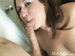 The cute brunette MILF Vanessa Blake, is almost a BBW, who you'll see giving her TV repairman a blowjob because she didn't have enough money to pay his repair bill.