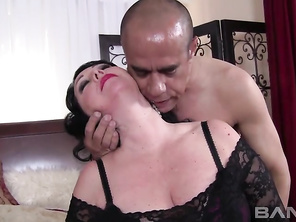 Alexis Couture is a very beautiful, mature, long haired brunette, who is on the verge of qualifying as a BBW however, we'll call her voluptuous, since she has a great pair of all natural knockers and a mostly shaved snapper, that will be getting penetrate