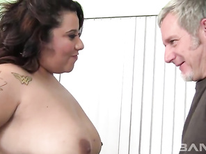 Tootsie is a fun loving BBW who's a brunette with several tattoos that you'll see when she's having her partially shaved snapper penetrated, as she lays on her side and while she sits up on this guy's lap, letting you have a look into her tiny brown eye.