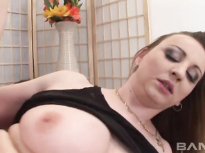 Next, she gives him a blowjob while massaging her snatch, as she masturbates for an orgasm, before he fucks her for a creampie cumshot.